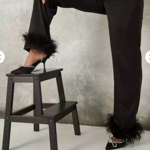 Black Satin Feather Hem Straight Leg Pants